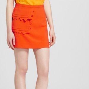 Victoria Beckham   Orange Scalloped Skirt